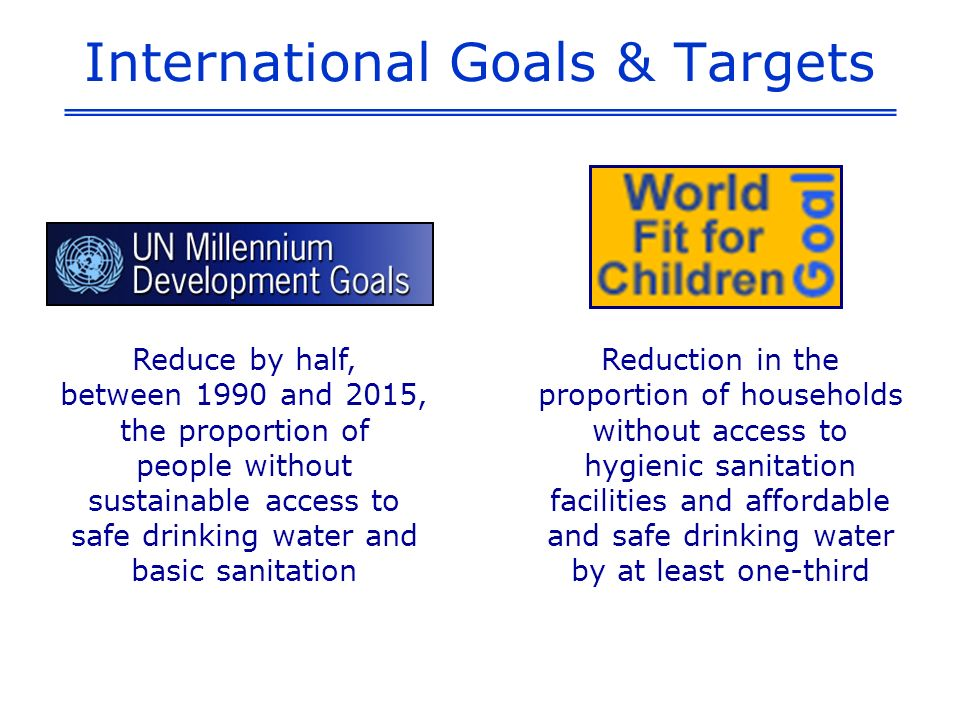 International Goals & Targets Reduction in the proportion of households without access to hygienic sanitation facilities and affordable and safe drinking water by at least one-third Reduce by half, between 1990 and 2015, the proportion of people without sustainable access to safe drinking water and basic sanitation