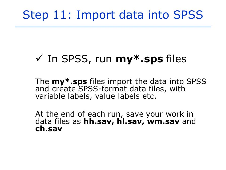 Step 11: Import data into SPSS In SPSS, run my*.sps files The my*.sps files import the data into SPSS and create SPSS-format data files, with variable labels, value labels etc.