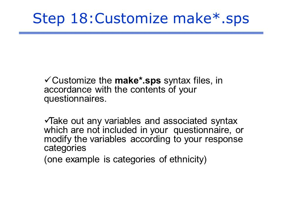 Step 18:Customize make*.sps Customize the make*.sps syntax files, in accordance with the contents of your questionnaires.
