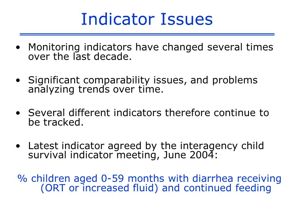 Indicator Issues Monitoring indicators have changed several times over the last decade.