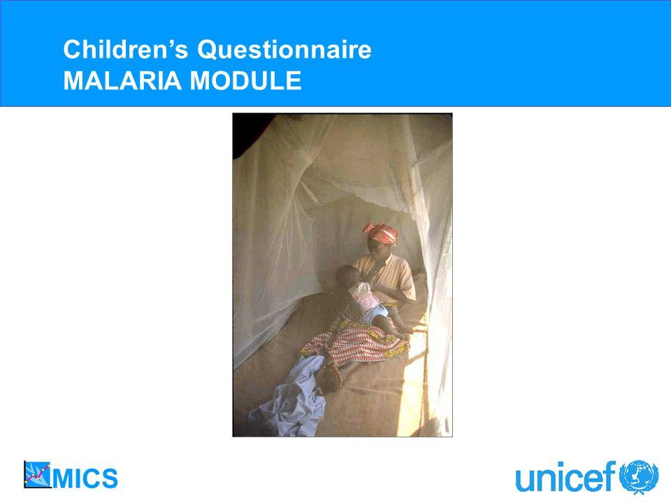 Childrens Questionnaire MALARIA MODULE