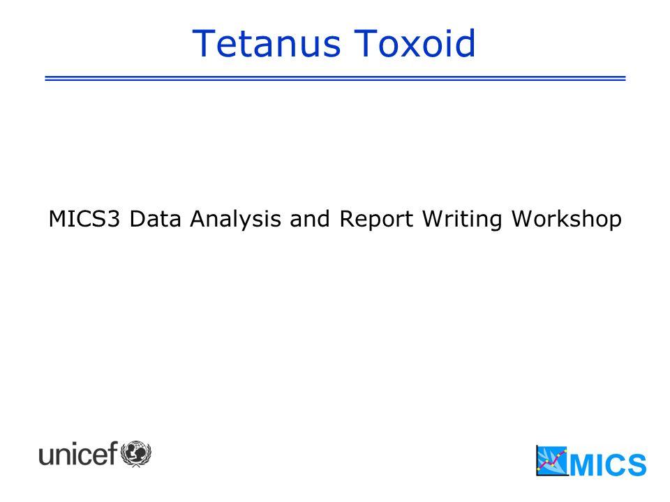 Tetanus Toxoid MICS3 Data Analysis and Report Writing Workshop