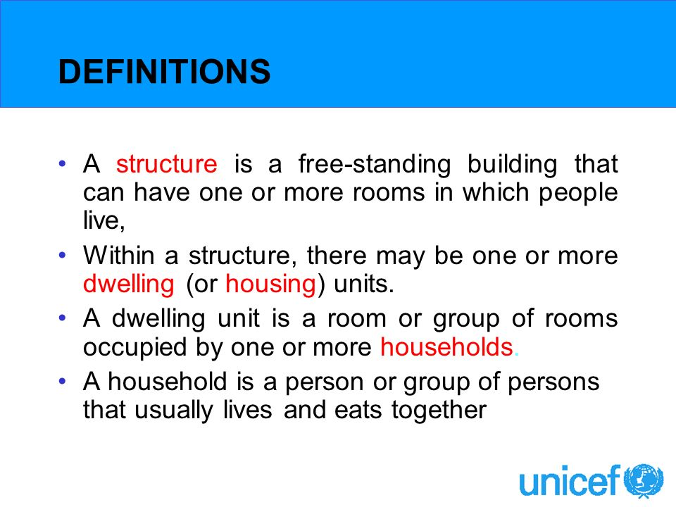 DEFINITIONS A structure is a free-standing building that can have one or more rooms in which people live, Within a structure, there may be one or more dwelling (or housing) units.