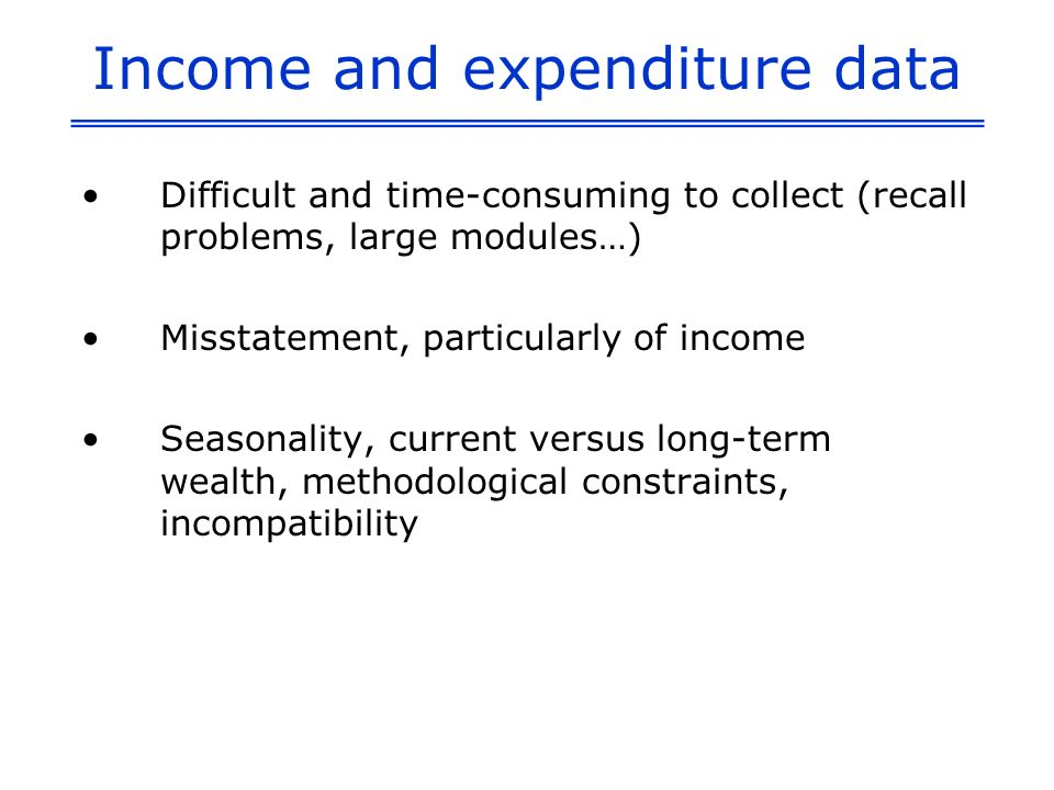 Uses of the WI The wealth index has become a standard background variable used in household surveys The only index constructed by using a statistical technique Poor - nonpoor differences in a variety of health and demographic outcomes – e.g.