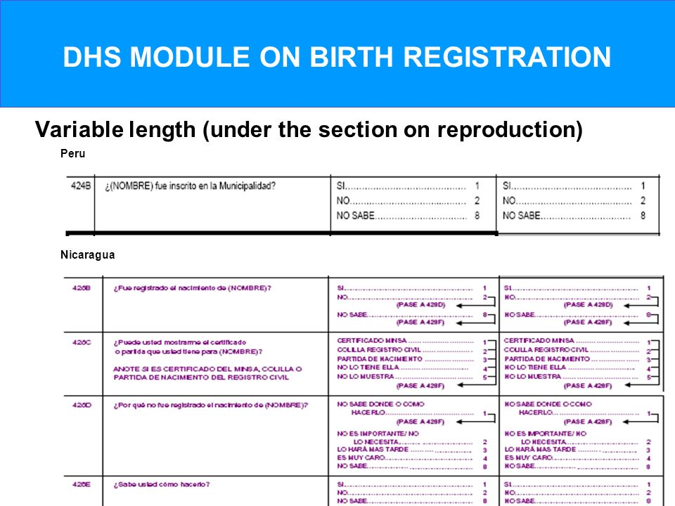 DHS MODULE ON BIRTH REGISTRATION Variable length (under the section on reproduction) Peru Nicaragua