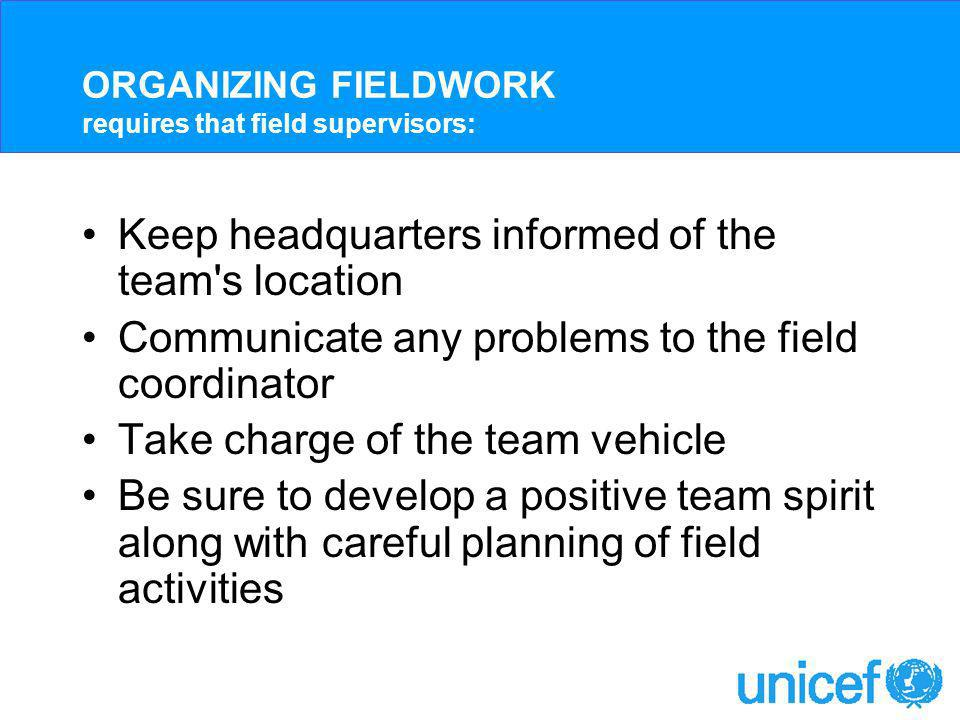 Collecting Materials for fieldwork: Documents Supervisor s and Editor s Manual Interviewer s Manuals Maps and household listing forms ID cards Letters of introduction Questionnaires Supervisor s Assignment Sheets Interviewer s Assignment Sheets