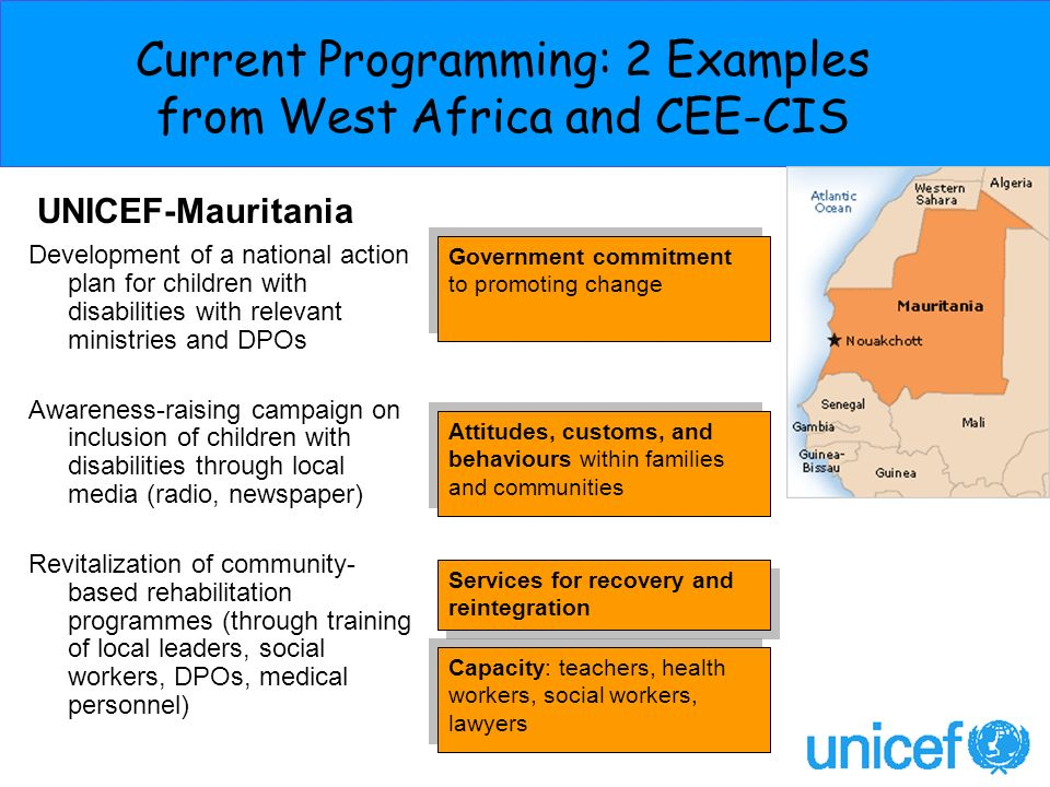 Current Programming: 2 Examples from West Africa and CEE-CIS Attitudes, customs, and behaviours within families and communities UNICEF-Mauritania Gove