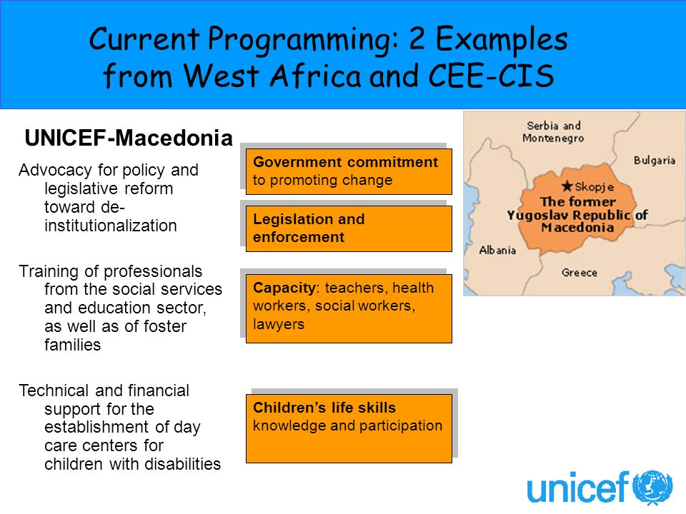 Current Programming: 2 Examples from West Africa and CEE-CIS Capacity: teachers, health workers, social workers, lawyers UNICEF-Macedonia Government commitment to promoting change Childrens life skills knowledge and participation Advocacy for policy and legislative reform toward de- institutionalization Training of professionals from the social services and education sector, as well as of foster families Technical and financial support for the establishment of day care centers for children with disabilities Legislation and enforcement