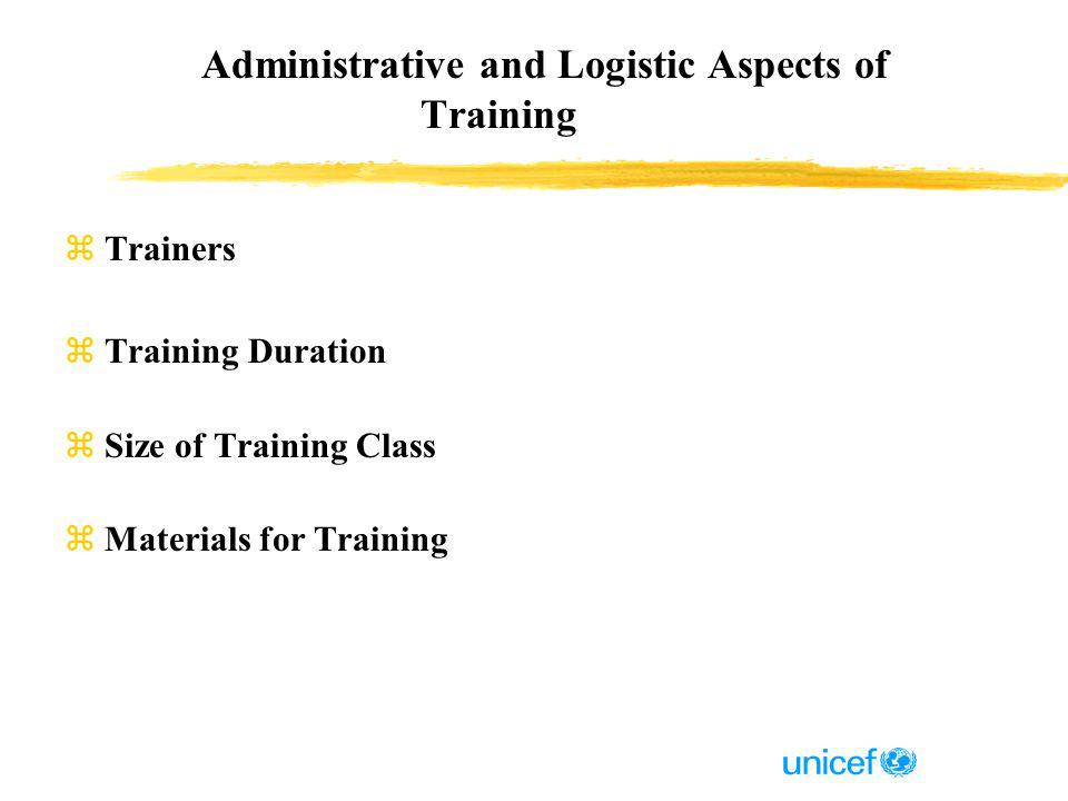 Administrative and Logistic Aspects of Training zTrainers zTraining Duration zSize of Training Class zMaterials for Training