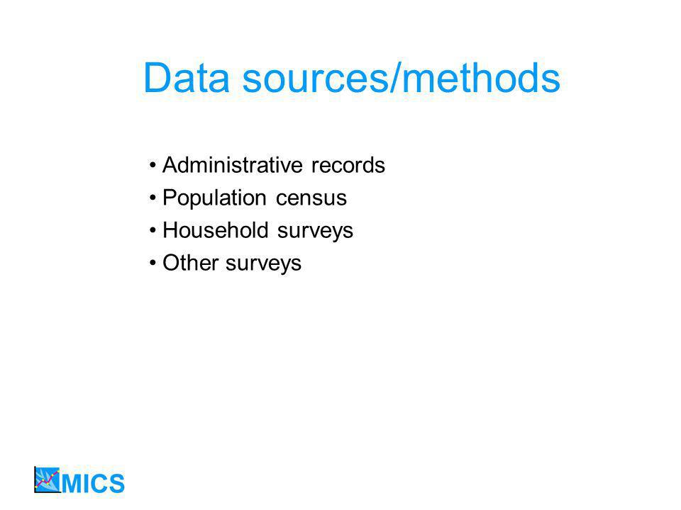 Data sources/methods Administrative records Population census Household surveys Other surveys