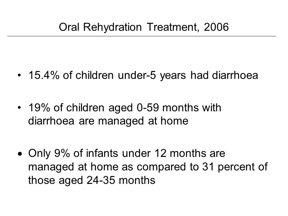 Oral Rehydration Treatment, 2006 15.4% of children under-5 years had diarrhoea 19% of children aged 0-59 months with diarrhoea are managed at home Only 9% of infants under 12 months are managed at home as compared to 31 percent of those aged 24-35 months