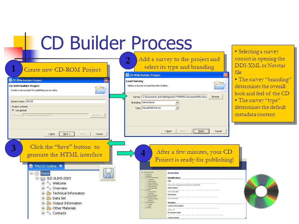 CD Builder Process Create new CD-ROM Project Add a survey to the project and select its type and branding 1 2 Selecting a survey consist in opening the DDI-XML or Nesstar file The survey branding determines the overall look and feel of the CD The survey type determines the default metadata content Selecting a survey consist in opening the DDI-XML or Nesstar file The survey branding determines the overall look and feel of the CD The survey type determines the default metadata content Click the Save button to generate the HTML interface 3 After a few minutes, your CD Project is ready for publishing.