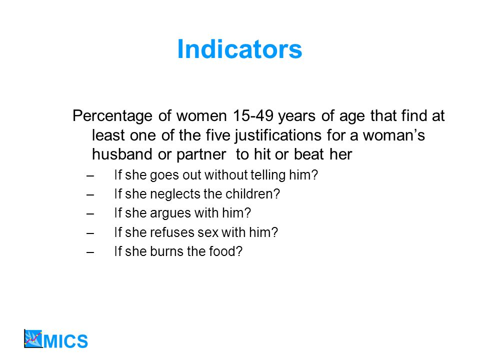 Indicators Percentage of women 15-49 years of age that find at least one of the five justifications for a womans husband or partner to hit or beat her – If she goes out without telling him.