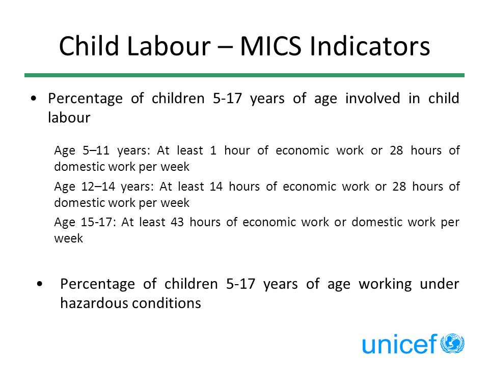 Child Labour – MICS Indicators Percentage of children 5-17 years of age involved in child labour Age 5–11 years: At least 1 hour of economic work or 2