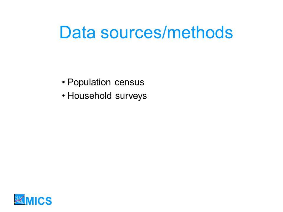 Data sources/methods Population census Household surveys