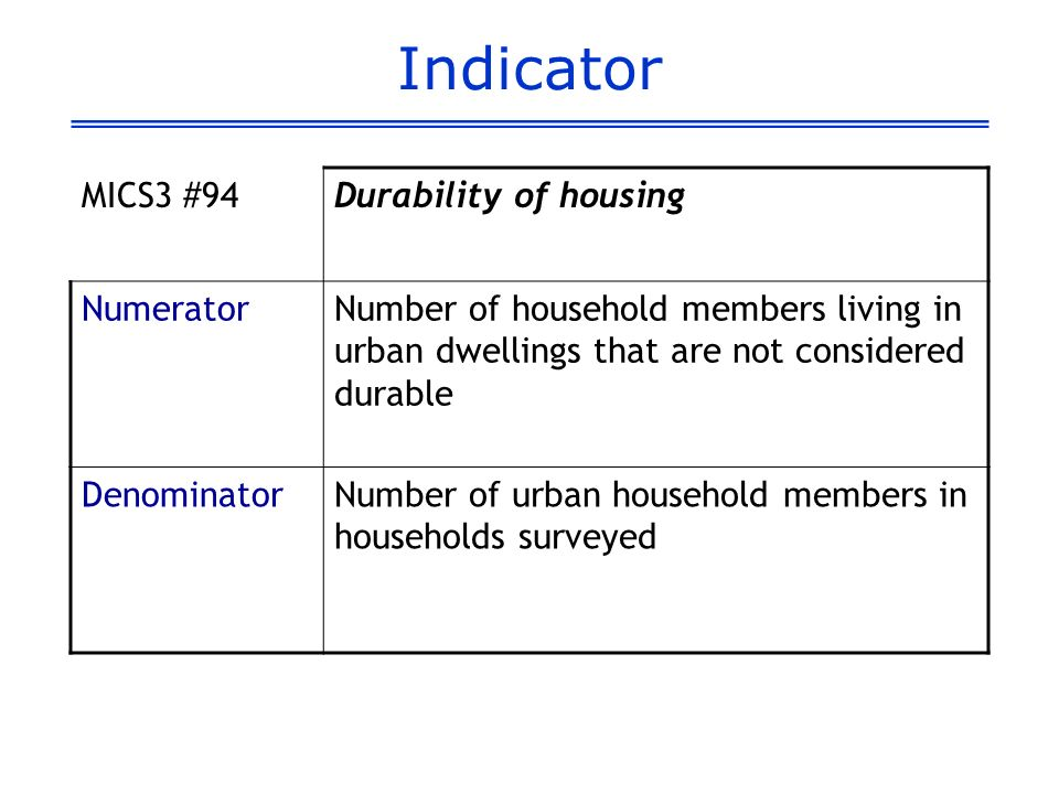 Indicator MICS3 #94Durability of housing NumeratorNumber of household members living in urban dwellings that are not considered durable DenominatorNum