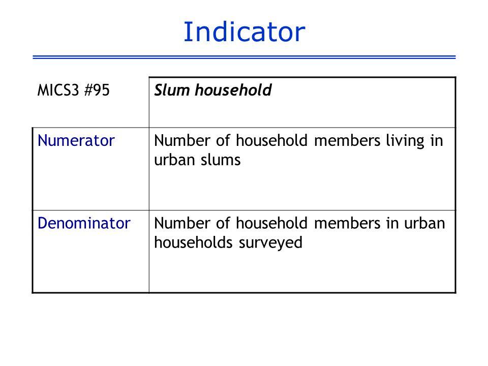 Indicator MICS3 #95Slum household NumeratorNumber of household members living in urban slums DenominatorNumber of household members in urban households surveyed