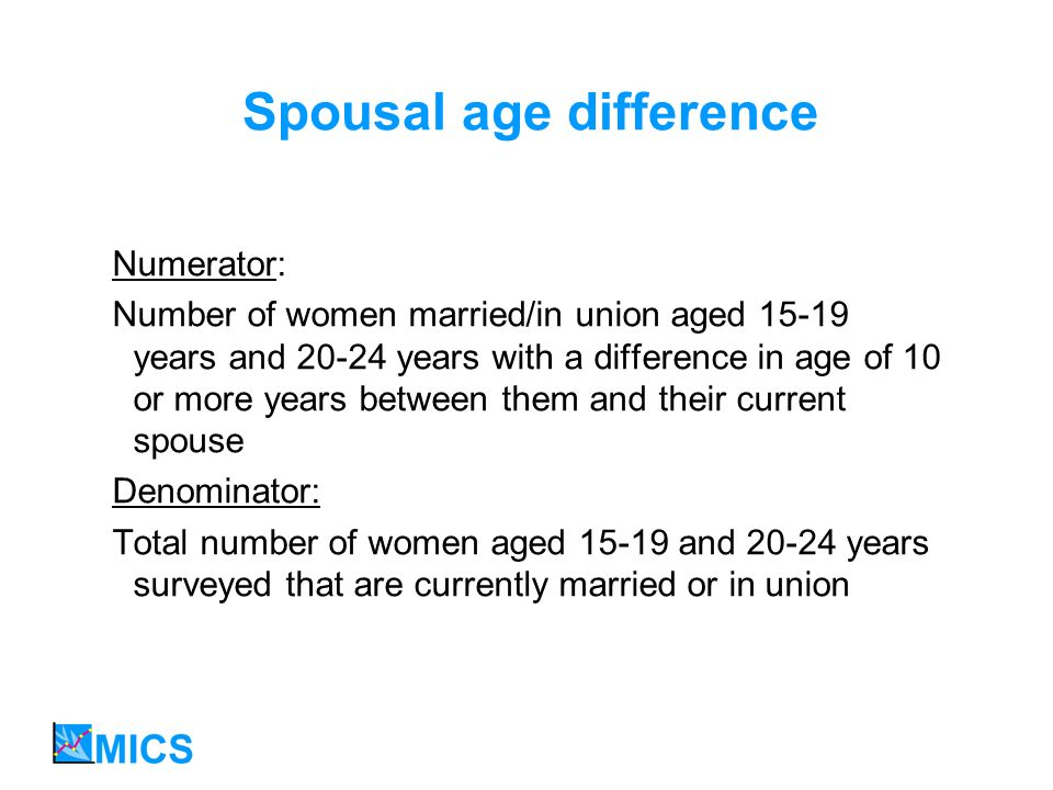 Spousal age difference Numerator: Number of women married/in union aged 15-19 years and 20-24 years with a difference in age of 10 or more years between them and their current spouse Denominator: Total number of women aged 15-19 and 20-24 years surveyed that are currently married or in union