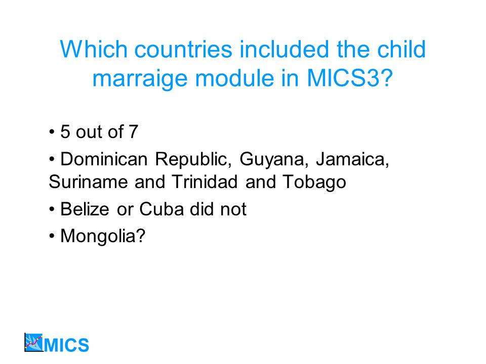Which countries included the child marraige module in MICS3.