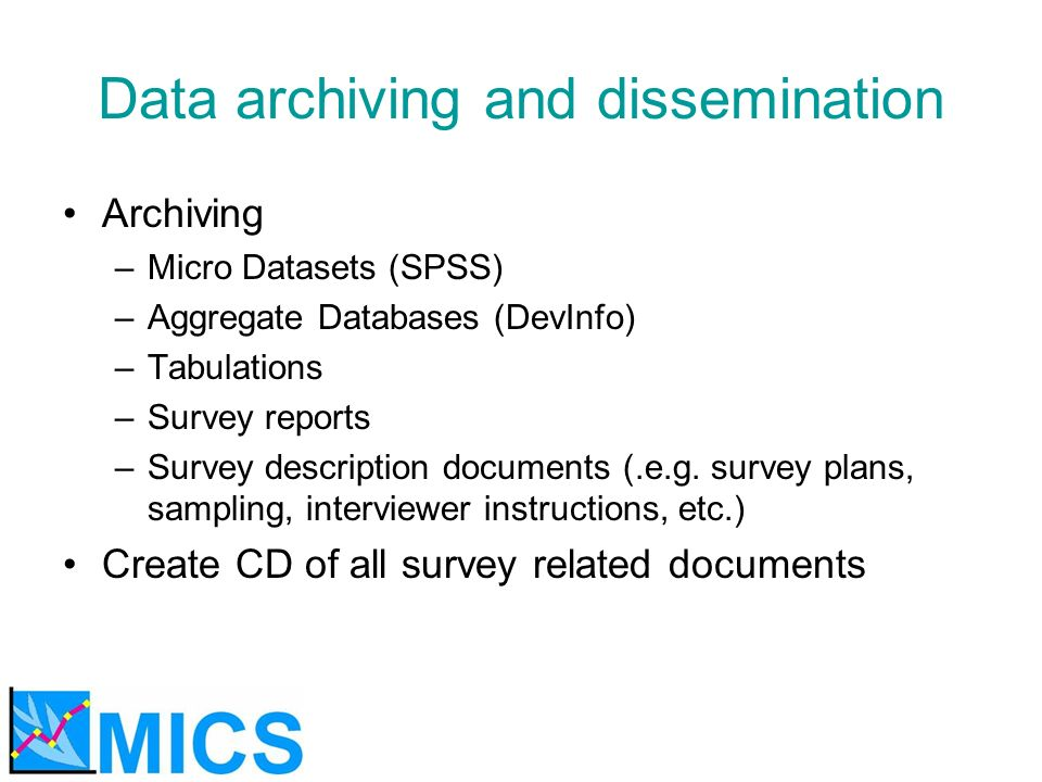 Data archiving and dissemination Archiving –Micro Datasets (SPSS) –Aggregate Databases (DevInfo) –Tabulations –Survey reports –Survey description docu