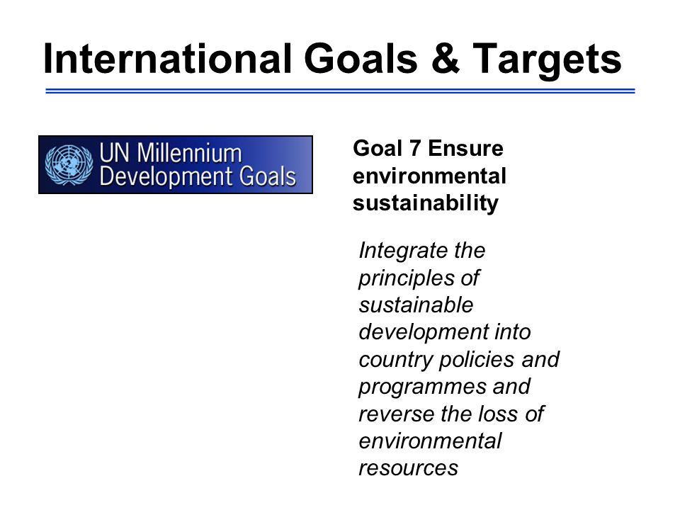 International Goals & Targets Goal 7 Ensure environmental sustainability Integrate the principles of sustainable development into country policies and