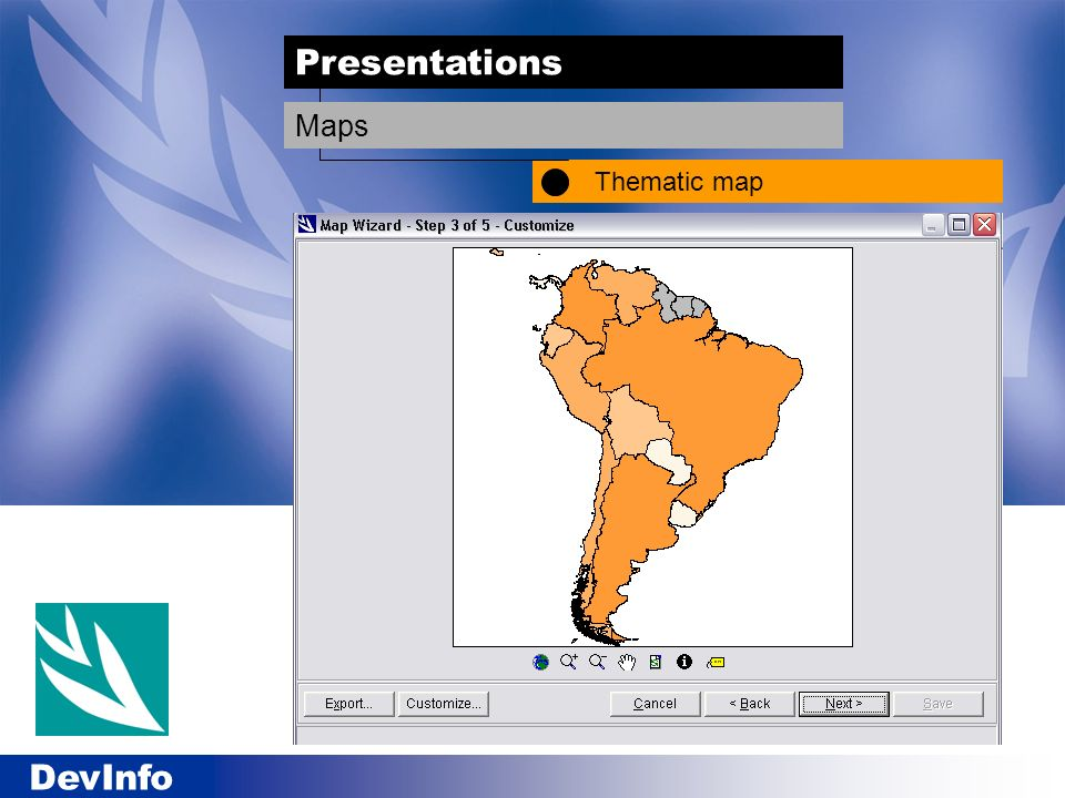 DevInfo Presentations Thematic map Maps