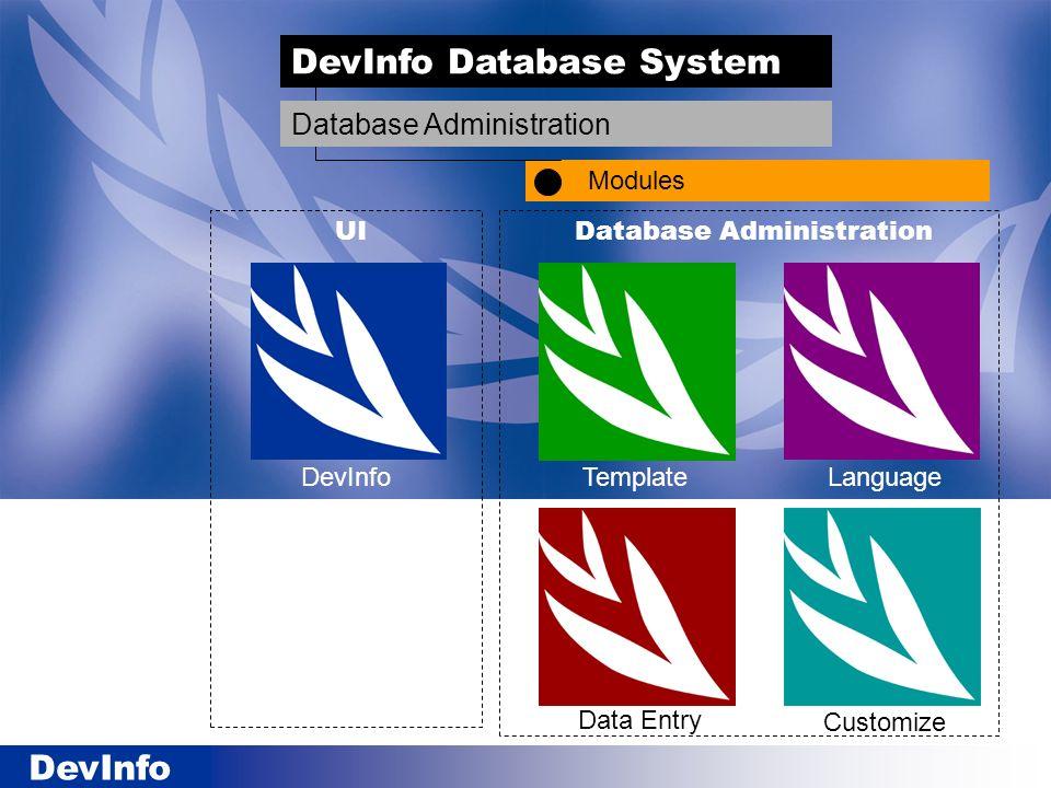 DevInfo TemplateLanguage Data Entry Customize Database AdministrationUI DevInfo Database System Modules Database Administration