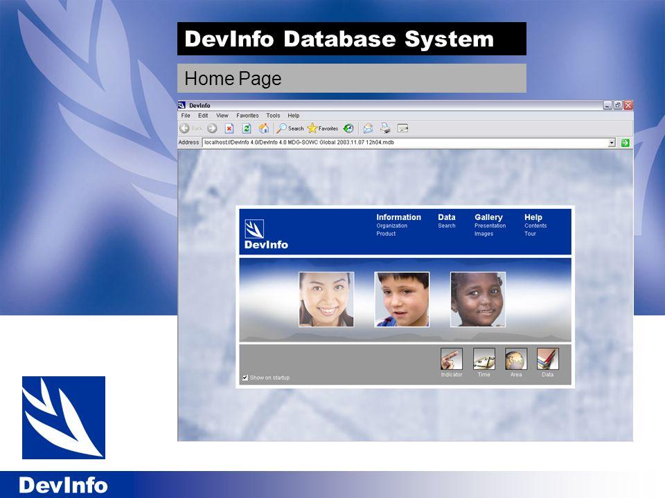 DevInfo DevInfo Database System Home Page