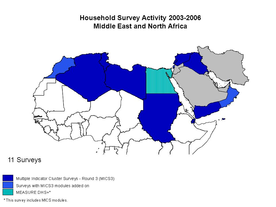 Household Survey Activity 2003-2006 Middle East and North Africa 11 Surveys