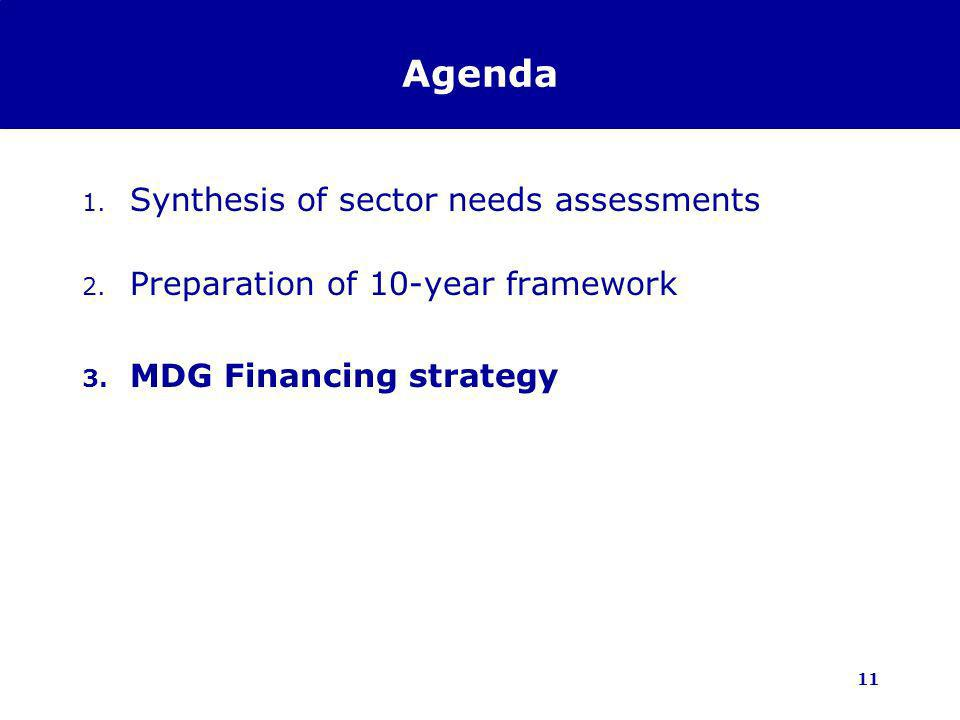 11 Agenda 1. Synthesis of sector needs assessments 2. Preparation of 10-year framework 3. MDG Financing strategy
