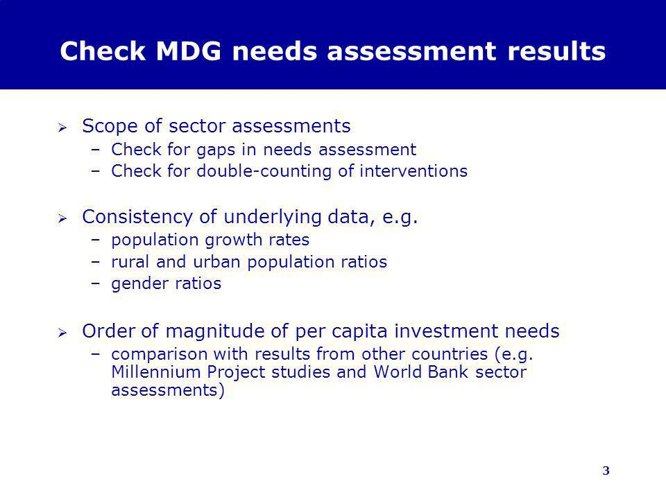 3 Check MDG needs assessment results Scope of sector assessments –Check for gaps in needs assessment –Check for double-counting of interventions Consistency of underlying data, e.g.