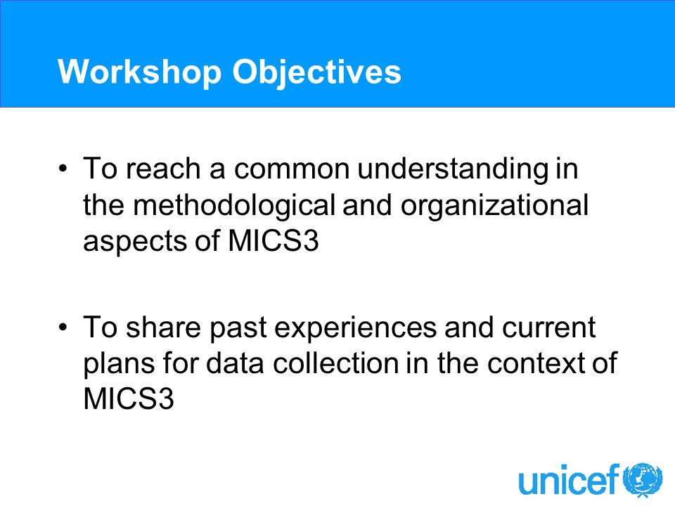 Workshop Objectives To reach a common understanding in the methodological and organizational aspects of MICS3 To share past experiences and current plans for data collection in the context of MICS3