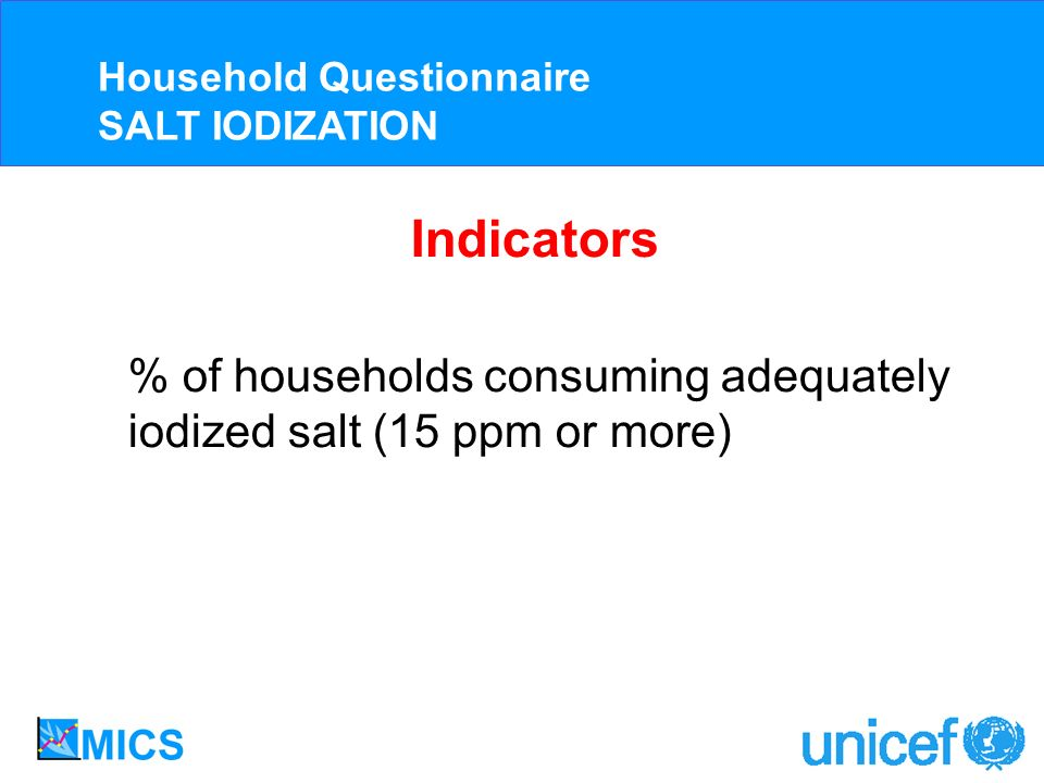 Indicators % of households consuming adequately iodized salt (15 ppm or more) Household Questionnaire SALT IODIZATION