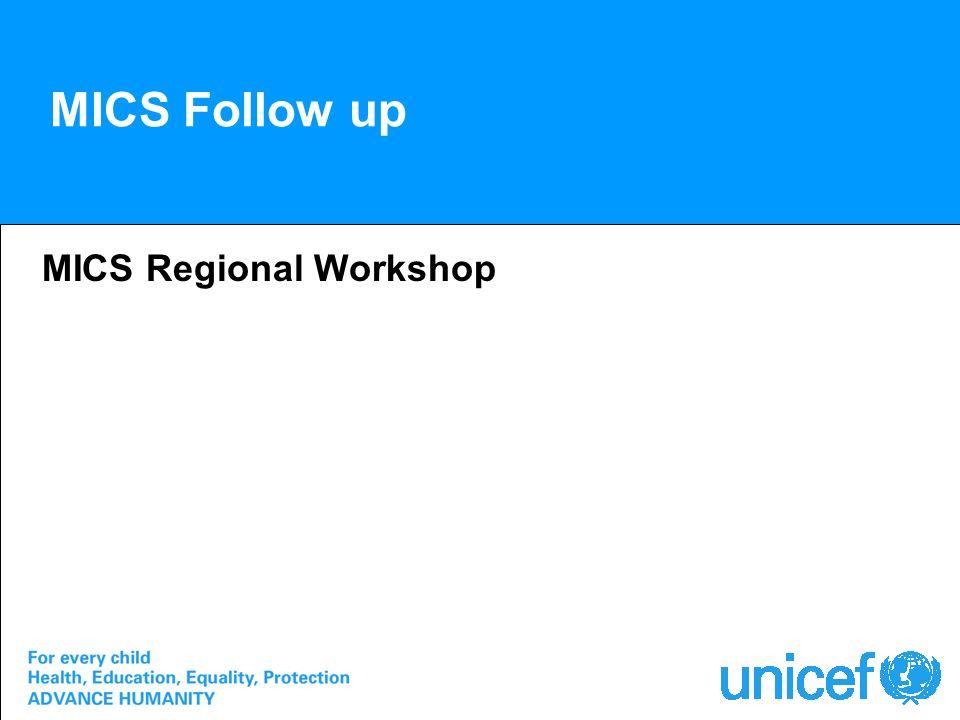 MICS Follow up MICS Regional Workshop