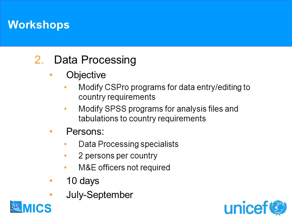 Workshops 2.Data Processing Objective Modify CSPro programs for data entry/editing to country requirements Modify SPSS programs for analysis files and