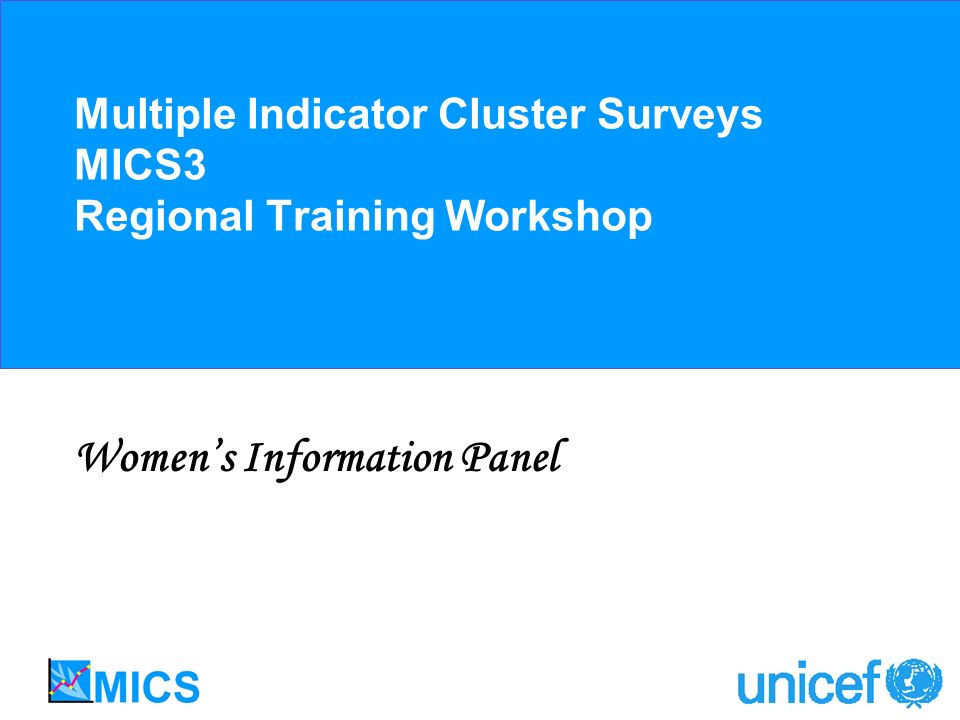 Multiple Indicator Cluster Surveys MICS3 Regional Training Workshop Womens Information Panel
