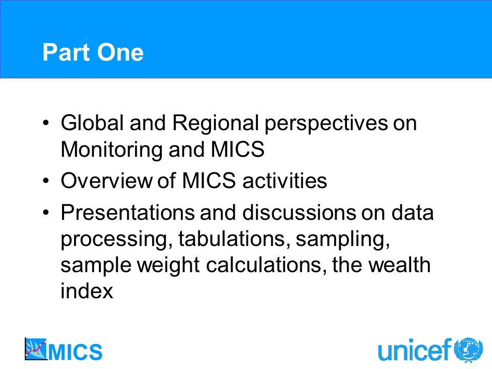 Part One Global and Regional perspectives on Monitoring and MICS Overview of MICS activities Presentations and discussions on data processing, tabulat