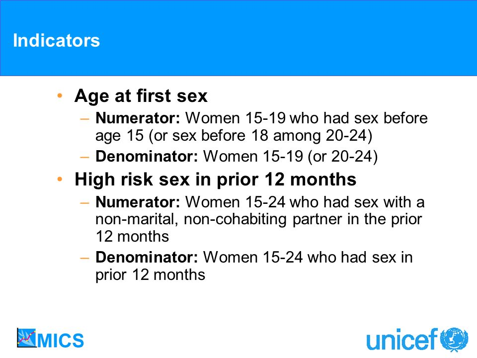 Indicators Age at first sex –Numerator: Women 15-19 who had sex before age 15 (or sex before 18 among 20-24) –Denominator: Women 15-19 (or 20-24) High risk sex in prior 12 months –Numerator: Women 15-24 who had sex with a non-marital, non-cohabiting partner in the prior 12 months –Denominator: Women 15-24 who had sex in prior 12 months