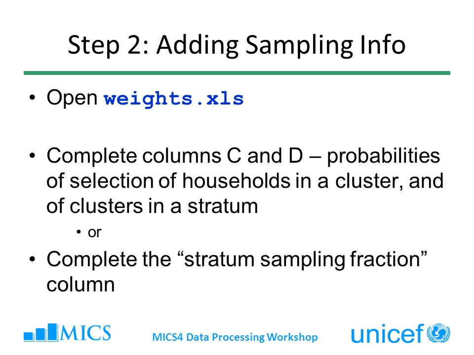 Step 2: Adding Sampling Info Open weights.xls Complete columns C and D – probabilities of selection of households in a cluster, and of clusters in a s
