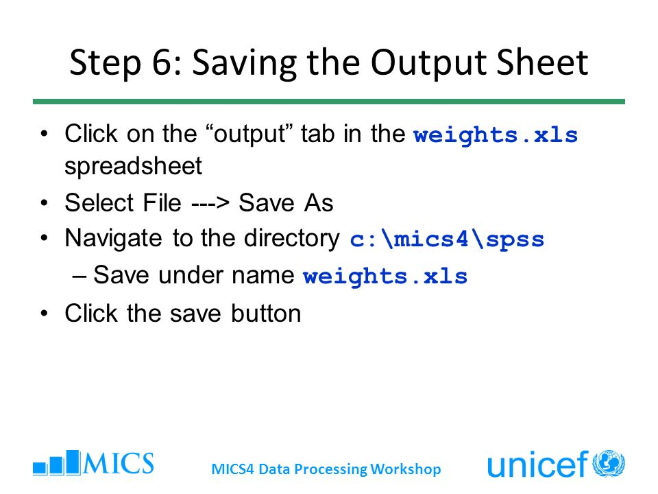 Step 6: Saving the Output Sheet Click on the output tab in the weights.xls spreadsheet Select File ---> Save As Navigate to the directory c:\mics4\sps