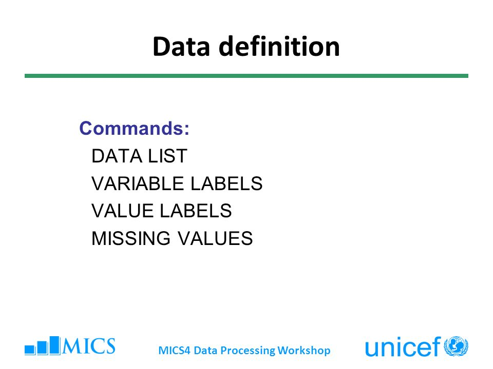 Data definition Commands: DATA LIST VARIABLE LABELS VALUE LABELS MISSING VALUES MICS4 Data Processing Workshop