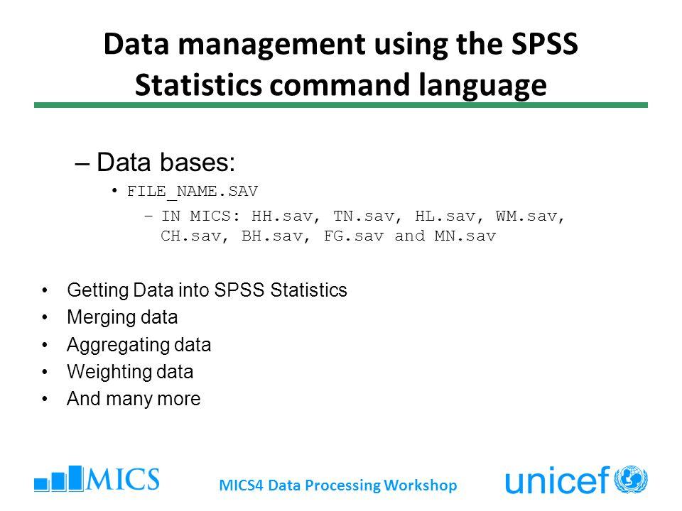 Data management using the SPSS Statistics command language –Data bases: FILE_NAME.SAV –IN MICS: HH.sav, TN.sav, HL.sav, WM.sav, CH.sav, BH.sav, FG.sav and MN.sav Getting Data into SPSS Statistics Merging data Aggregating data Weighting data And many more MICS4 Data Processing Workshop