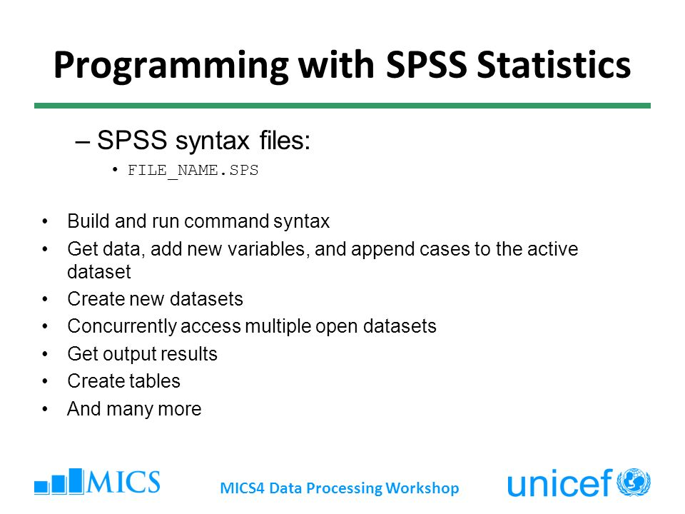 Programming with SPSS Statistics –SPSS syntax files: FILE_NAME.SPS Build and run command syntax Get data, add new variables, and append cases to the active dataset Create new datasets Concurrently access multiple open datasets Get output results Create tables And many more MICS4 Data Processing Workshop