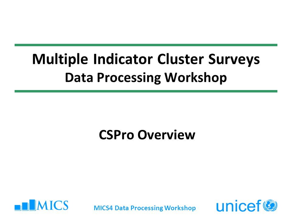 MICS4 Data Processing Workshop Multiple Indicator Cluster Surveys Data Processing Workshop CSPro Overview