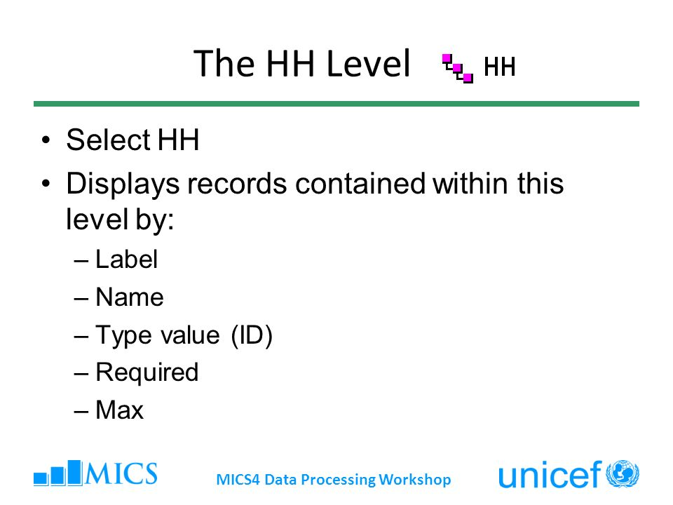 The HH Level Select HH Displays records contained within this level by: –Label –Name –Type value (ID) –Required –Max MICS4 Data Processing Workshop