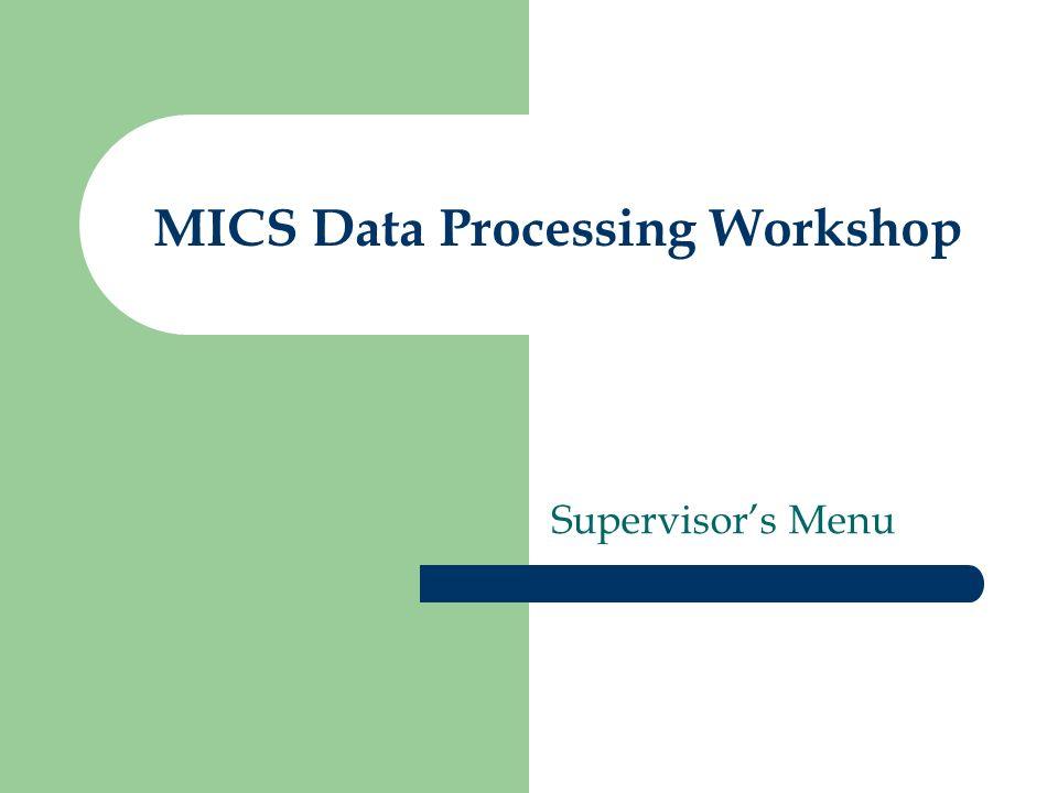 MICS Data Processing Workshop Supervisors Menu