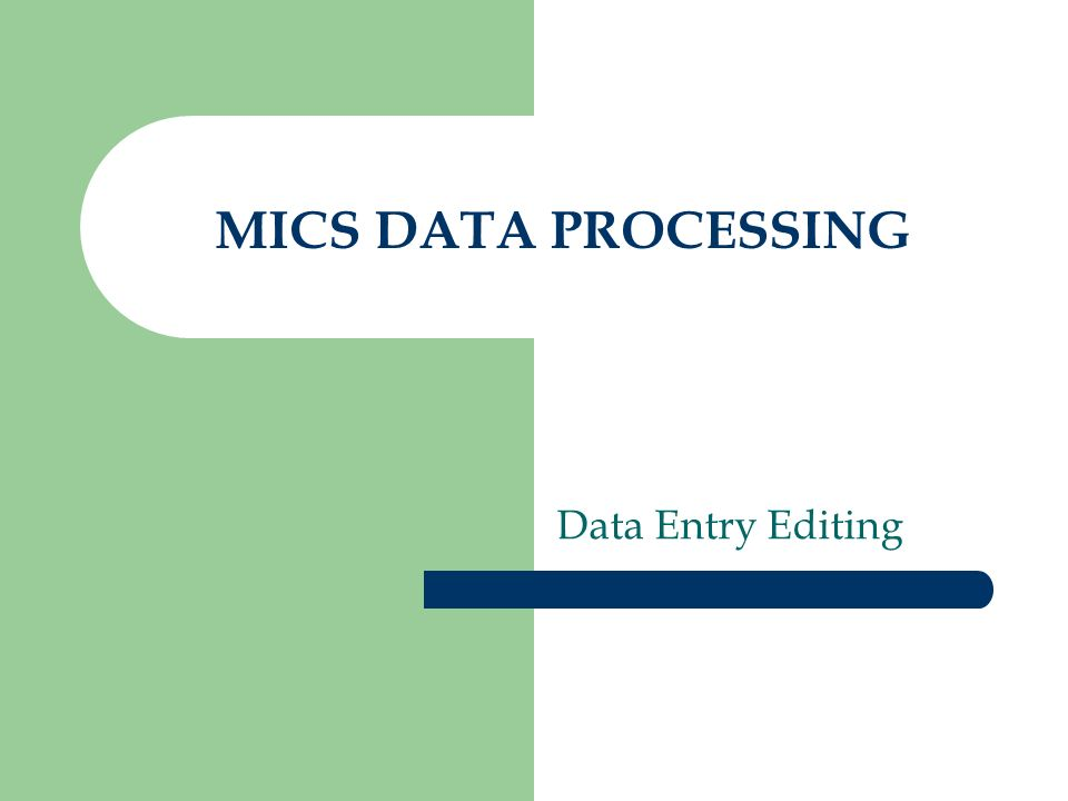 MICS DATA PROCESSING Data Entry Editing