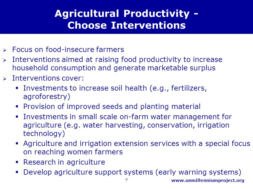 www.unmillenniumproject.org 7 Agricultural Productivity - Choose Interventions Focus on food-insecure farmers Interventions aimed at raising food productivity to increase household consumption and generate marketable surplus Interventions cover: Investments to increase soil health (e.g., fertilizers, agroforestry) Provision of improved seeds and planting material Investments in small scale on-farm water management for agriculture (e.g.