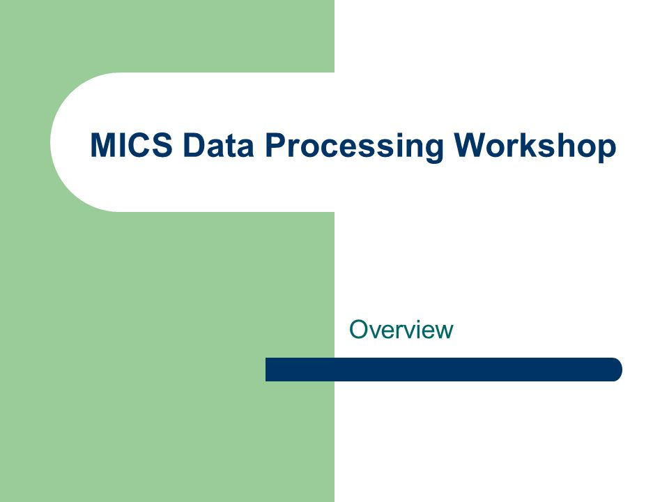 MICS Data Processing Workshop Overview