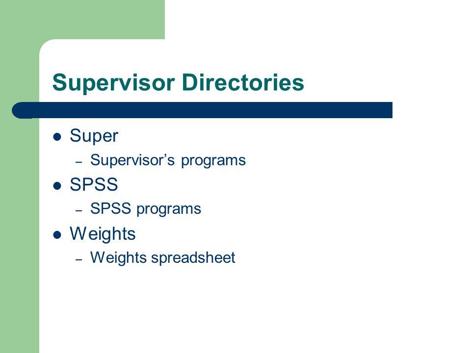Supervisor Directories Super – Supervisors programs SPSS – SPSS programs Weights – Weights spreadsheet